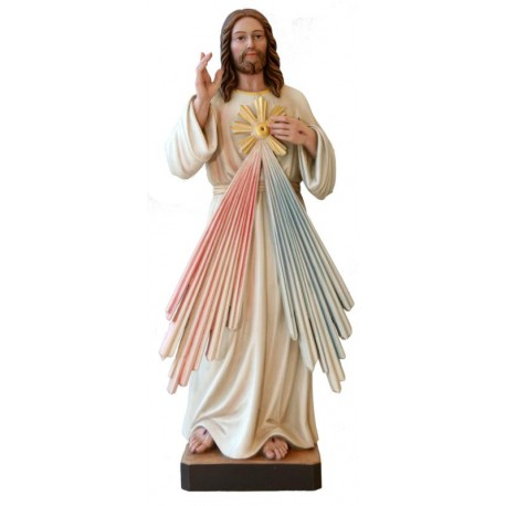 Gesù Misericordioso finemente scolpito - colorato colori pastello