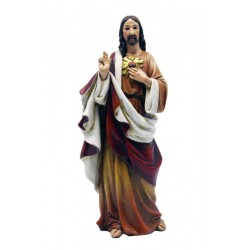 Sacred Heart of Jesus Statue, Made of wood and Polychrome Paste - Dolfi Religious Statues Saints