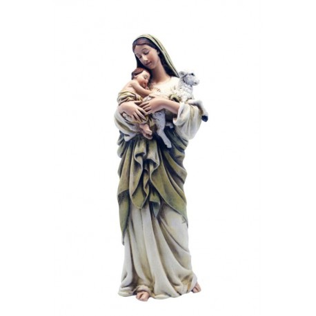 Mary with Child and Sheep wood paste