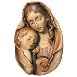 Relief Madonna Für Rosenkranz; Dolfi Holzfigur Barock geschnitzt, Original Grödner Holzschnitzereien - Brauntöne lasiert