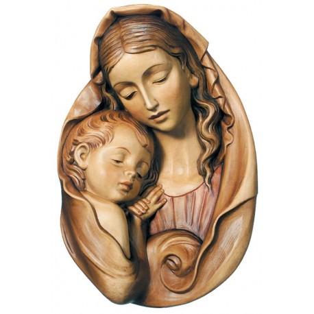 Relief Madonna für Rosenkranz - mehrfach gebeizt