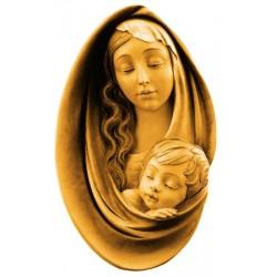 Ovale di legno raffigurante Madonna e Gesù - legno colorato in diverse tonalitá di marrone