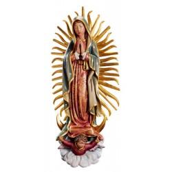 Madonna di Guadalupe finemente raffigurata nel legno