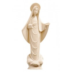 Madonna of Medjugorje from Bosnia and Herzegovina with a Halo and Clouds At her Feet, carved wood