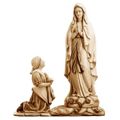 Madonna di Lourdes con Bernadette statuetta in legno - brunito 3 col.