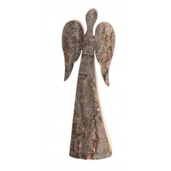 Schutzengel aus Rinde 12 cm   Dolfi Glücks Engel Rindenholz - Rindenengel, rostig-veredelten Flügeln