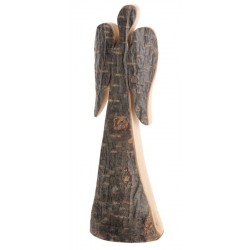 Schutzengel Rinde 18 cm, Dolfi Glücksengel aus Rinden Holz, Rindenengel, rostig-veredelten Flügeln