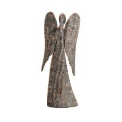 Schutzengel aus Laubholz mit Rinde h 24 cm