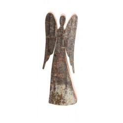 Schutzengel aus Laubholz mit Rinde h 12 cm   Dolfi Glücks Engel aus Rindenholz veredelten Flügeln