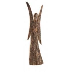 Schutzengel aus Laubholz 6 cm; Dolfi Glücksengel aus Rinden Holz mit rostig-veredelten Flügeln