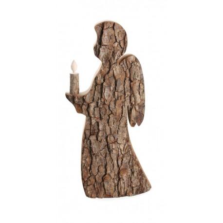 Angelo con candela in legno 32,5 cm