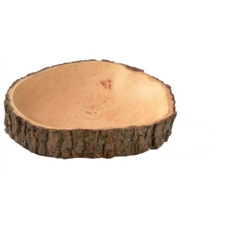 Ciotola scolpita in legno pregiato e corteccia
