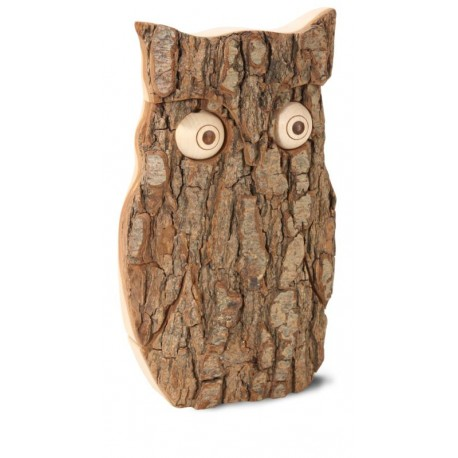 Wooden Owl with Bark