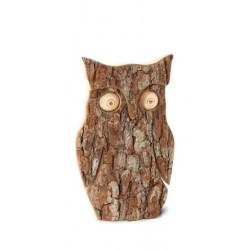 Gufo scolpito in legno e corteccia