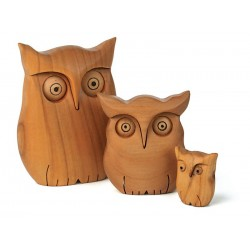 Owl 3,5Cm carved in Hand-Sanded wood and Sculpted By the Sculptors of Val Gardena - Dolfi Baby Gifts