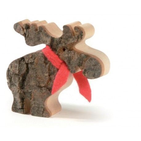 Moose with Bark and Red Scarf in wood