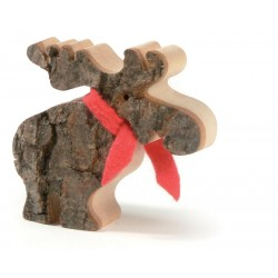 Moose with Bark and Red Scarf - wood