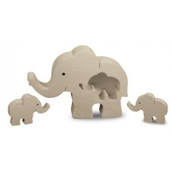 Wooden Family Elephant with Two Kids