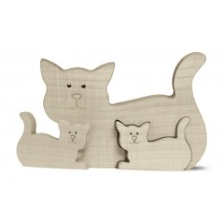 Wooden Cat Wit Two Kids