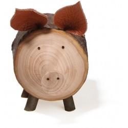 Porcellino scolpito in legno e corteccia