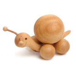 Lumaca rotolante scolpita in legno movibile