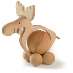 Alce rotolante movibile scolpito in legno