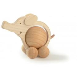 Elefante rotolante movibile scolpito in legno