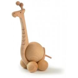 Giraffa rotolante scolpita in legno movibile