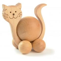 Gatto rotolante movibile scolpito in legno