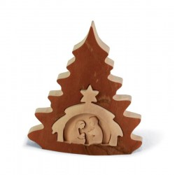 Baum förmige Weihnachtskrippe - Größe 9 cm x 8 cm, Dolfi Weihnachtskrippe Holz groß, aus Südtirol