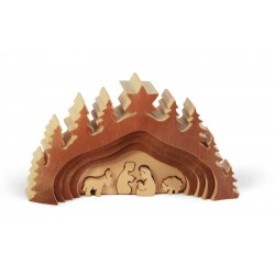Immagini naturali di presepi in legno e corteccia