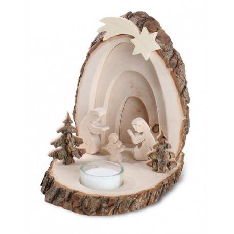 Nativity Set Composed with Tea Light, Holy Family and Trees in Hardwood - size 6 X 7,2 inches