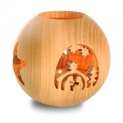 Kugelwindlicht | Dolfi Holz Windlicht, diese Holzschnitzerei ist eine edle Südtiroler Holzfigur