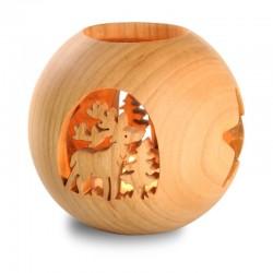 Kugelwindlicht, Dolfi Windlicht aus Holz, diese Holzschnitzerei ist eine edle Südtiroler Holzfigur