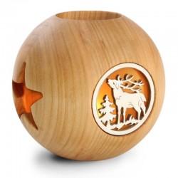 Portacandele a laser in legno