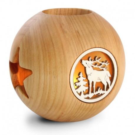 Portacandele con motivi a laser in legno di melo