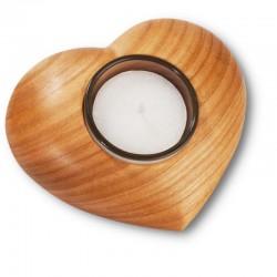 Elegante porta lumino a forma di cuore - Misure 11 cm x 9 cm, scultura intagliata in legno, Ortisei