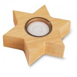 Elegante porta lumino a forma di stella in legno di melo, scultura intagliata in legno, Castelrotto