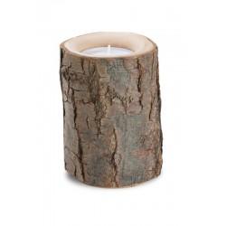 Porta candele con corteccia su tronco naturale