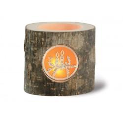 Stimmungsleuchter aus Baumrinde; Dolfi Teelichthalter aus Holz, Original Grödner Holzschnitzereien