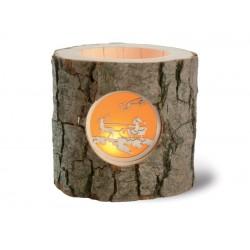 Baumstamm Kerzenhalter aus Holz