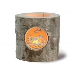 Stimmungsleuchter, Dolfi Teelichthalter Holz rund, diese Skulptur ist eine edle Grödner Schnitzerei