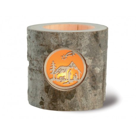 Forest Decor Wooden Tealight Candle Holder with Crib Gift Ideas for Girlfriend - Made in Italy