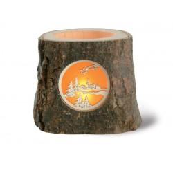 Portacandela tronco in legno