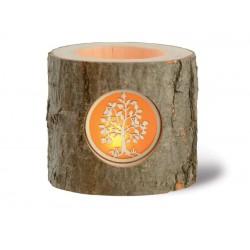 Candeliere tronco scultura legno