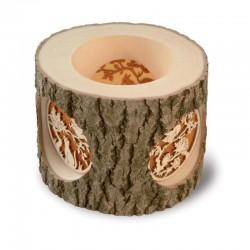 Candeliere a tronco con immagine finemente scolpita