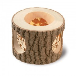 Candle Holder with Tree Windows in Pine wood with Bark - Dolfi Cool Christmas Gifts - Made in Italy