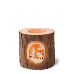 Forest Wooden Tea Light Lantern with Deer and Tree Hand carved in the Window