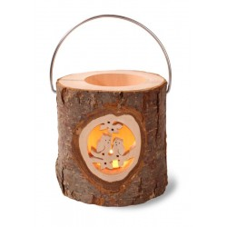 Rustic Lantern with Metal Handle Hand carved Window with Deer and Tree - Dolfi Fathers Day Crafts