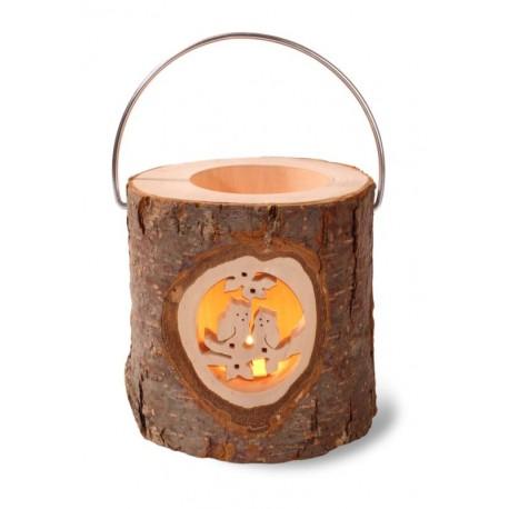 Lanterna a tronco con motivo intagliato, nel legno
